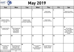 Sports Blog Calendar - May