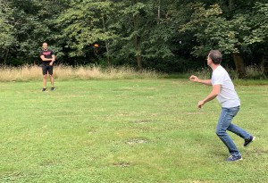 long distance frisbee in use