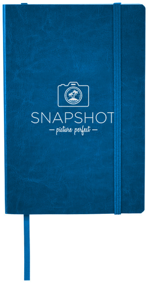 A5 PU leather notebook in blue with colour match ribbon and elastic closure strap and 1 colour print logo