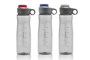 Grey hydration gauge bottles with coloured screw lid
