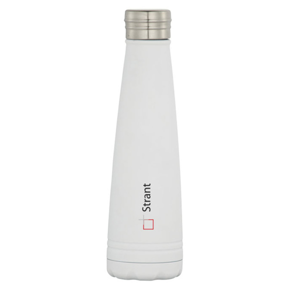 White metal drinks bottle with logo printed