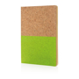 Eco-friendly cork notebook with bottom half coloured green