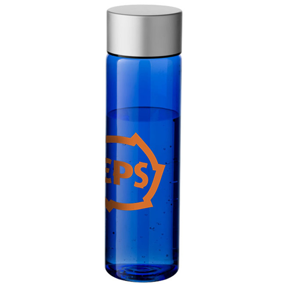 Tall slim blue bottle with silver screw cap printed with a company logo