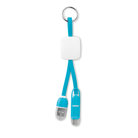 Keyring C in blue with micro USB connector and USB type C