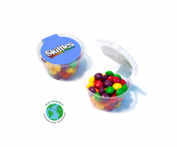 Compostable sweet pot containing skittles
