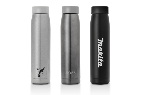 3 stainless steel mirage travel  bottles in black gunmetal and silver