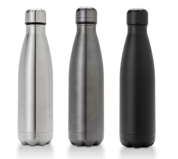 three metal bottles in silver gunmetal and black