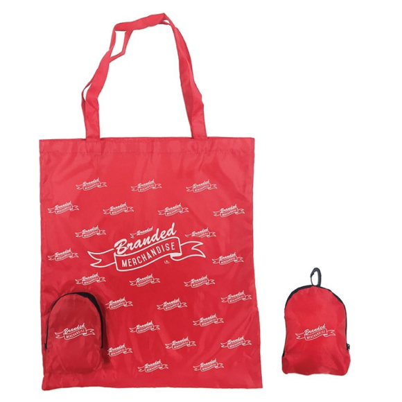 Shopping bag with pocket to fold bag into