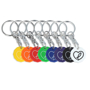 8 different coloured recycled coin keyrings each branded with the same heart logo