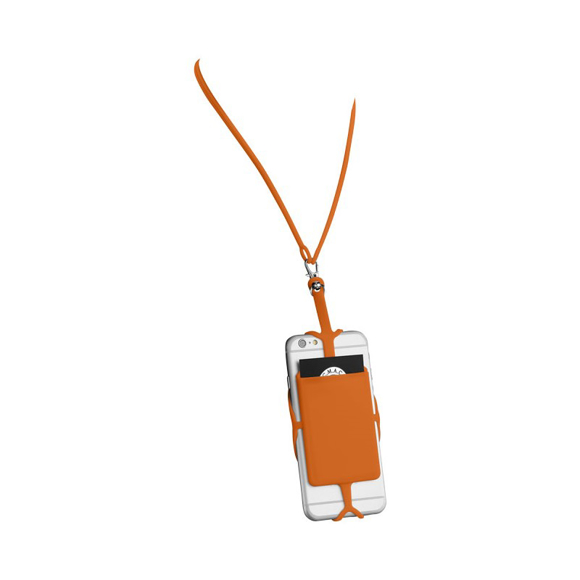 Silicone RFID Card Holder with lanyard in orange with phone in