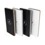 Rectangular wireless chargers in black and white with silver or gold trim