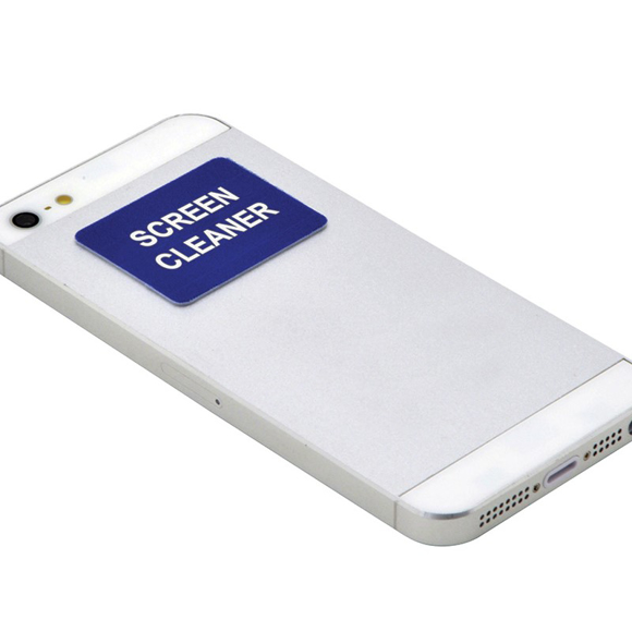 printed sticky screen cleaner stuck to bacl of phone