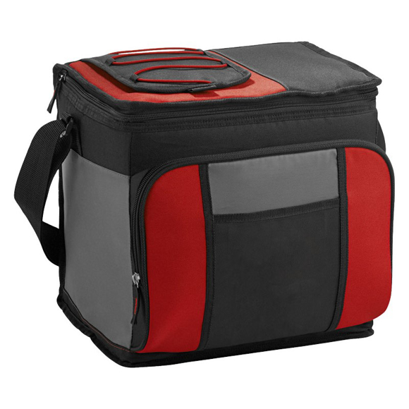 Black, Grey & red cooler bag with front zip compartment and carry handle