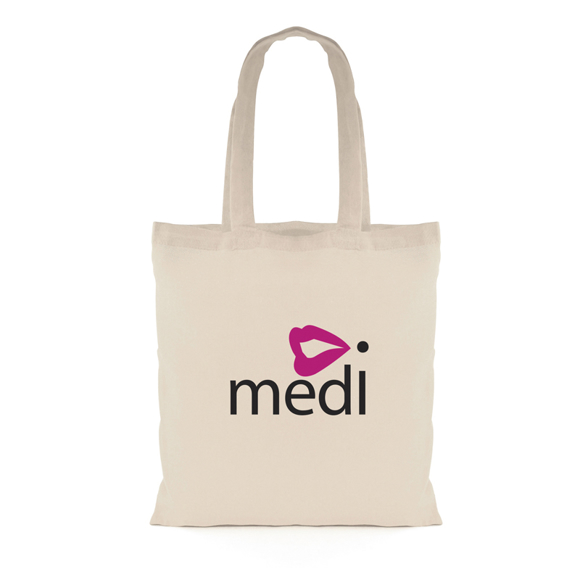 5oz Value 100% Natural Cotton Shopper with long handles and 2 colour print logo