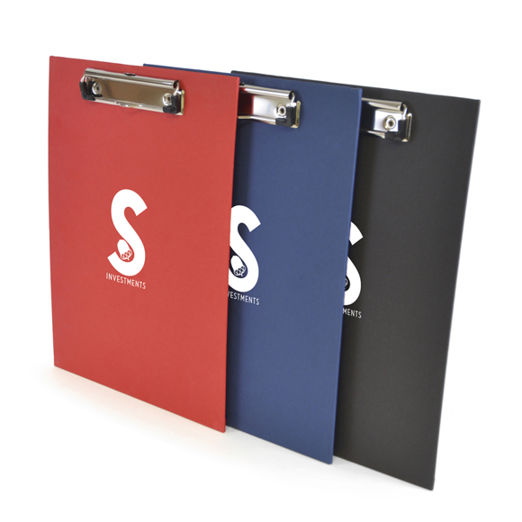 A4 Bristol Clipboard in red, blue and black with stainless steel clip and 1 colour print logo