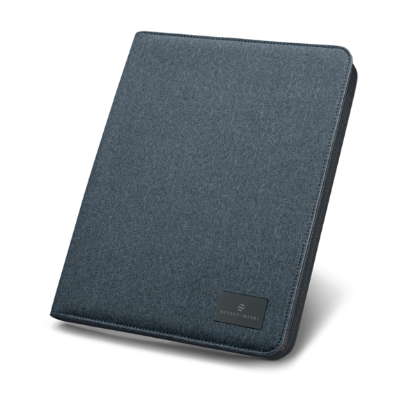 A4 imitation leather notepad organiser in navy with rubber finish