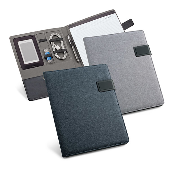 A4 imitation leather notepad organiser in navy and grey with magnetic lock with lined paper sheets and elastic pen and wire organiser