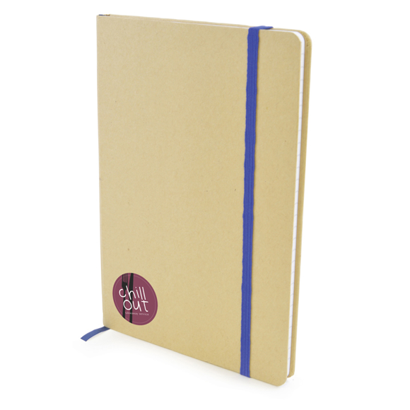 A5 natural recycled notebook with lined pages and blue elastic closure strap and 3 colour print logo