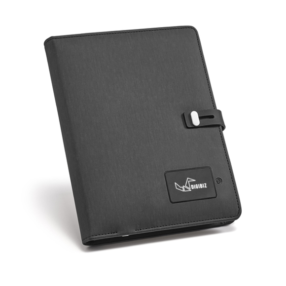A5 imitation leather notepad folder with built in portable charger