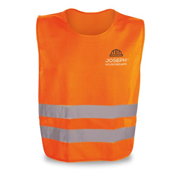 fluorescent orange reflective vest with logo