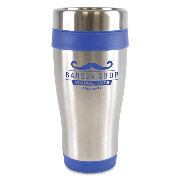 stainless steel ancoats travel mug with coloured trim and 1 colour branding