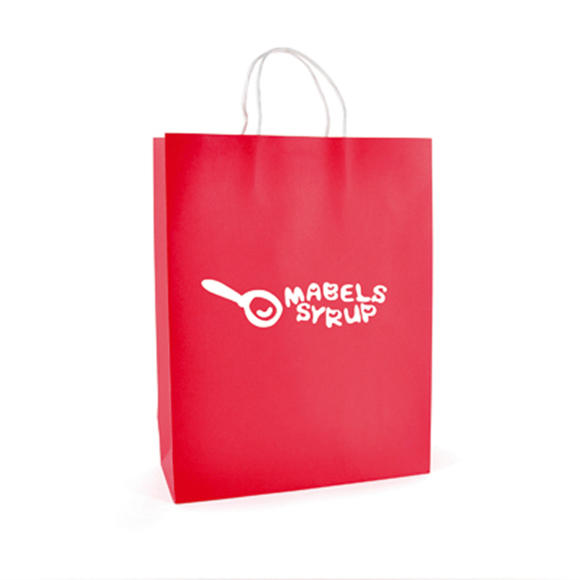 Ardville Large Paper Bag in red with white rope handles and 1 colour print logo