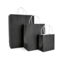 Ardville Paper Bags in small, medium and large in black with whit rope handles