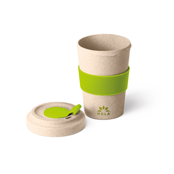 bamboo travel mug with green silicone grip and closure