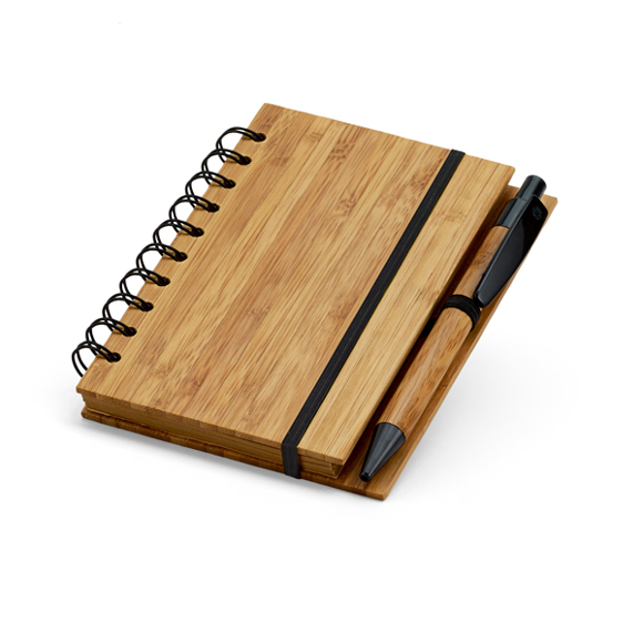 Bamboo note pad with black wire bound, elastic closure strap and bamboo/black pen