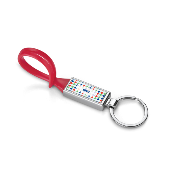 red belt clip keyring with a domed label to the front