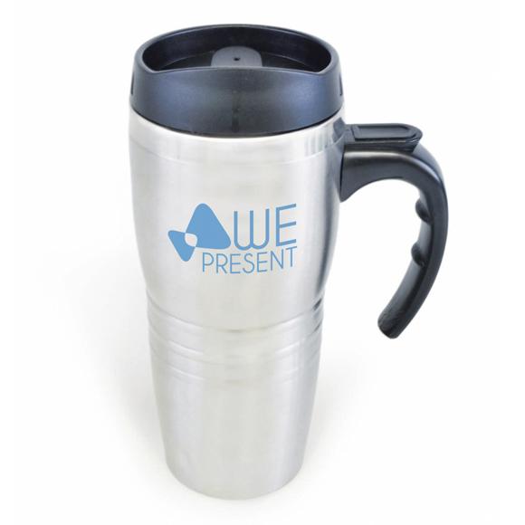 stainless steel blake travel mug with black handle and lid