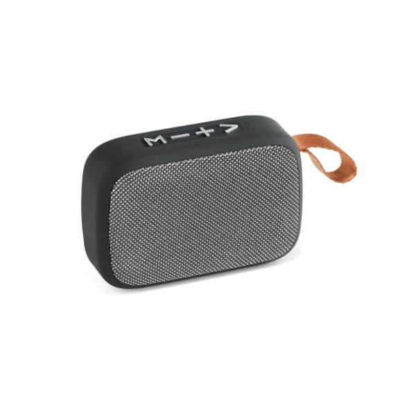a dark grey rectangular bluetooth speaker with microphone