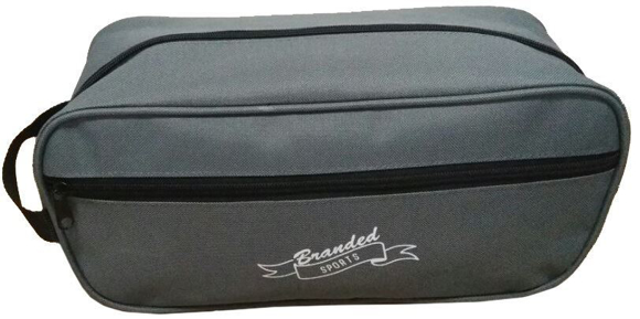 Boot Bag in grey with black handle and zip with 1 colour print logo