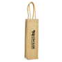 Jute reusable bag for a single wine bottle
