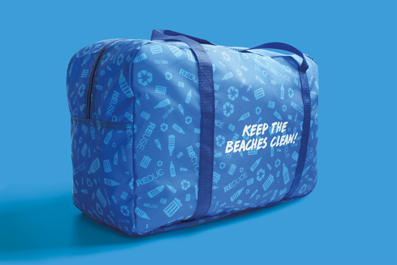 Holdall style beach bag branded with dye sublimation