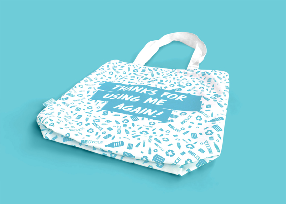Tote shopper bag with all over printed design