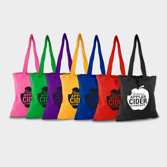 Coloured shopping bags lined up in a range of colours