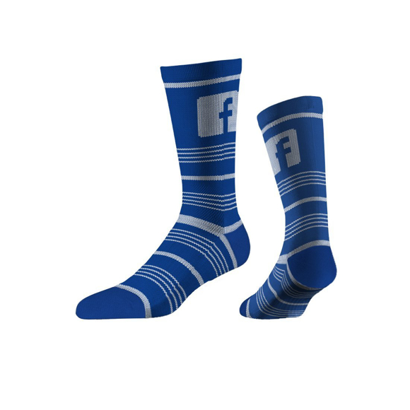 Business Knit Crew Socks in blue with 1 colour logo and colour match stripes