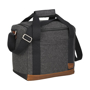 Large grey cooler bag with black straps and brown trim at the bottom