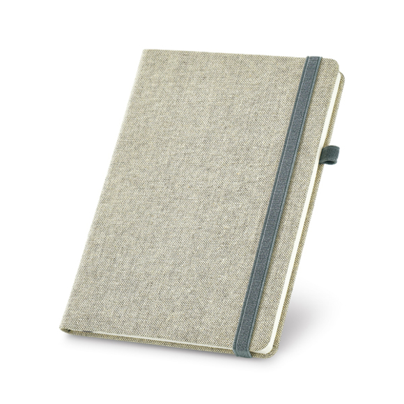 Polyester canvas notebook with elastic strap and pen loop in grey