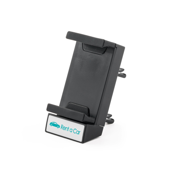 black car phone dock front view with 1 colour branding