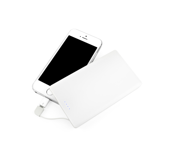 White flat card shaped power bank charging a mobile phone