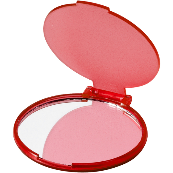 Carmen Mirror in red with plastic flip-top cover and transparent back