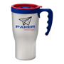 Tall, sturdy travel mug in white with blue handle and printed logo
