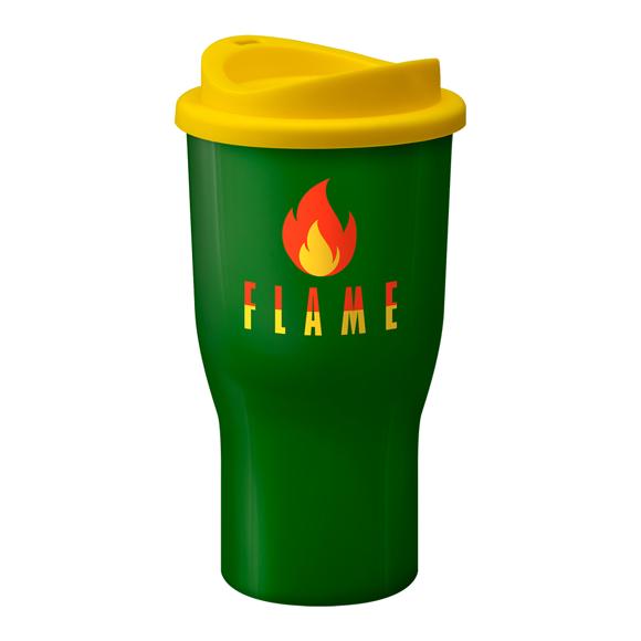 Large travel mug with company logo printed on the side