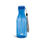 transparent blue sports bottle with blue lid, cord strap and 1 colour branding