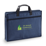 Blue zip up document case with logo printed on the front