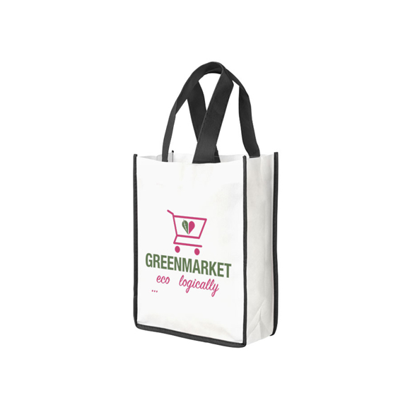 Small sized white reusable bag with black accent trim