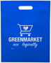 Blue convention tote bag with large logo print