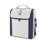 Tall blue and white cooler bag with